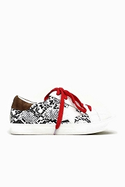 Lace Up Low Top Star Sneakers-White Snake Print with Red Shoe Laces