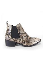 Slip On Chelsea Booties with Side Elastic-Natural Python Snake Print