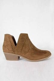 Stitch Ankle Slit Cutout Faux Suede Closed Toe Ankle Booties-Brown