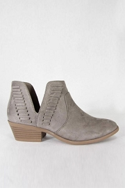 Stitch Ankle Slit Cutout Faux Suede Closed Toe Ankle Booties-Taupe Grey