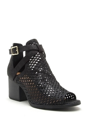 Buckle Perforated Ankle Slit Open Peep Toe Booties-Black