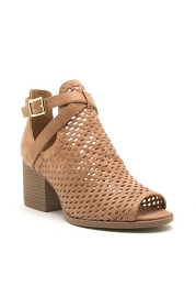 Buckle Perforated Ankle Slit Open Peep Toe Booties-Camel Brown