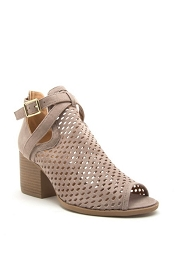 Buckle Perforated Ankle Slit Open Peep Toe Booties-Taupe