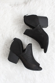Perforated Ankle Slit Open Peep Toe Booties-Black