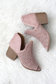 FLASH DEAL: Perforated Ankle Slit Open Peep Toe Booties-Blush