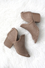 Perforated Ankle Slit Open Peep Toe Booties-Taupe