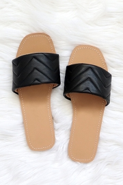 Every Day Quilted Sandal Slides-Black