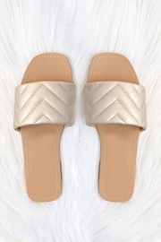 Every Day Quilted Sandal Slides-Gold