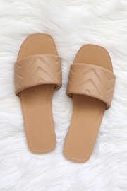 Every Day Quilted Sandal Slides-Taupe