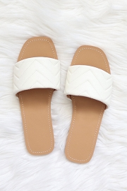 Every Day Quilted Sandal Slides-White