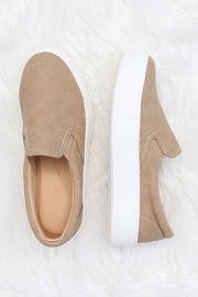 Platform Perforated Casual Slip On Flat Shoes Sneakers-Camel Brown
