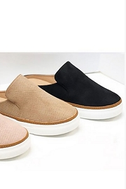 Open Back Perforated Casual Slip On Flat Sneakers Shoes-Black