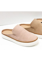 Open Back Perforated Casual Slip On Flat Sneakers Shoes-Blush Pink