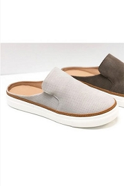 Open Back Perforated Casual Slip On Flat Sneakers Shoes-Light Grey