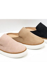 Open Back Perforated Casual Slip On Flat Sneakers Shoes-Oatmeal Nude Beige