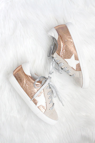 Metallic Lace Up Low Top Star Sneakers