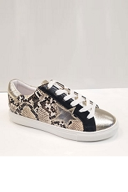 Animal Snake Print Lace Up Low Top Star Sneakers-Black Gold Snake Print