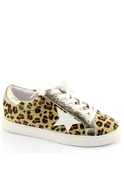 Lace Up Low Top Star Sneakers-Leopard Cheetah Print