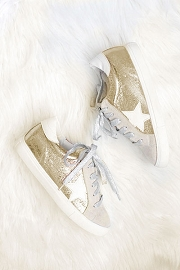 Metallic Lace Up Low Top Star Sneakers-Gold
