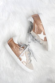 Metallic Lace Up Low Top Star Sneakers-Rose Gold