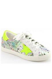 Snake Print Lace Up Low Top Star Sneakers-Neon Green Yellow
