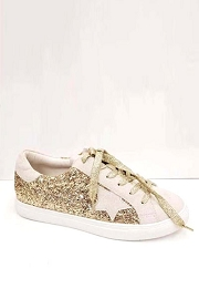 Glitter Metallic Lace Up Low Top Star Sneakers-Gold