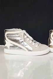 High Top Metallic Lace Up Low Top Star Sneakers-Silver