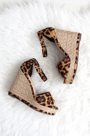 Ankle Strap Wedge Espadrille Platform Sandals with Open Peep Toe -Leopard Cheetah Print