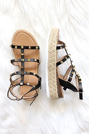 Espadrille Strappy Studded Low Platform Sandals with Ankle Strap-Black