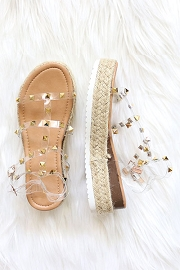 Espadrille Strappy Studded Low Platform Sandals with Ankle Strap-Clear