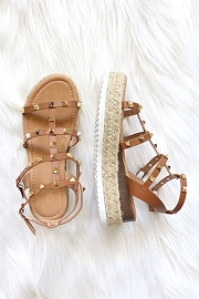 Espadrille Strappy Studded Low Platform Sandals with Ankle Strap-Tan Brown