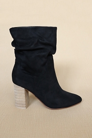 Slouchy Closed Toe Boots with Block Heel-Black