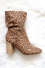 Slouchy Closed Toe Boots with Block Heel-Cheetah Leopard Print
