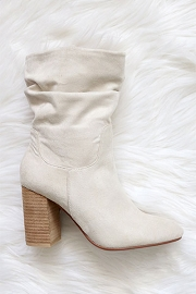 Slouchy Closed Toe Boots with Block Heel-Light Taupe