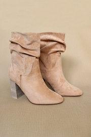 Slouchy Closed Toe Boots with Block Heel-Camel Brown