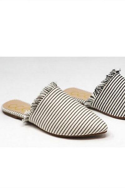 Striped Frayed Pointy Toe Closed Toe
