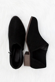 CYBER MONDAY FLASH DEAL! ENDS SOON - Textured Closed Toe Faux Suede Side Cutout Flats-Black