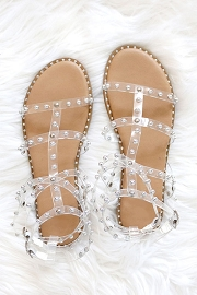 Clear Strappy Studded Sandals with Vertical and Ankle Strap and Studded Sole-Tan & Clear