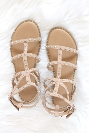 Strappy Studded Sandals with Vertical and Ankle Strap and Studded Sole-Taupe