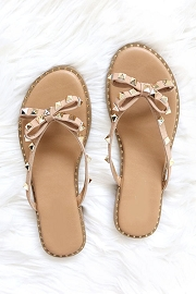 Studded Bow Flip Flops Jelly Sandals with Gold Studded Trim Sole-Taupe