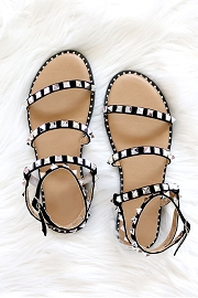Strappy Studded Sandals with Ankle Strap and Silver Trim-Black