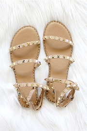 Strappy Studded Sandals with Ankle Strap and Gold Trim-Taupe