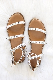 Strappy Studded Sandals with Ankle Strap and Gold Trim-White