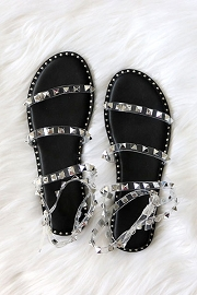 Clear Strappy Studded Sandals with Ankle Strap and Gold Trim-Black & Clear
