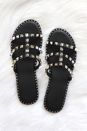Strappy Studded Sandals with Vertical Strap and Gold Trim-Black