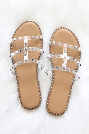 Strappy Studded Sandals with Vertical Strap and Gold Trim-Tan & Clear