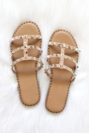 Strappy Studded Sandals with Vertical Strap and Gold Trim-Taupe