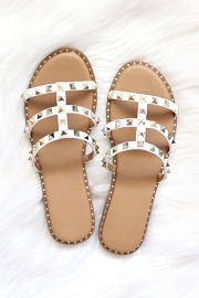 Strappy Studded Sandals with Vertical Strap and Gold Trim-White