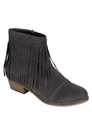 FLASH DEAL: Boho Indie Faux Suede Fringe Ankle Booties with Stacked Heel-Grey