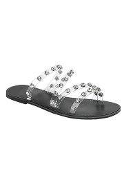 Clear Strappy Rhinestone Sandals-Black & Clear